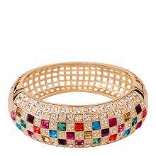 Gold/Multi Queen K Rainbow Crystal Bracelet