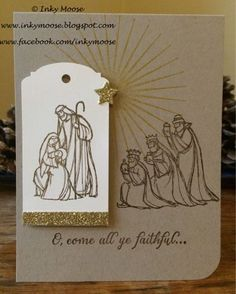 A workshop card I created using 'All Ye Faithful' from Stampin' Up!.