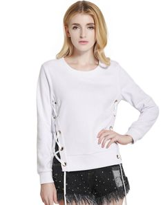 #AdoreWe #VIPme Sweatshirts & Hoodies - lztlylzt White Plain Casual Bandage Sweatshirt - AdoreWe.com