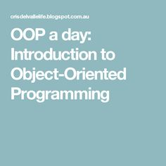oop a day introduction to object oriented programming