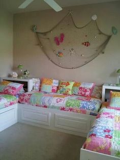 Adorable shared girls beach themed room