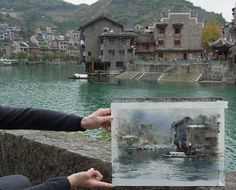 Plein air in ZhenYuan town. Watercolor Artists, Watercolor Landscape, Watercolour Painting, Landscape Paintings, Watercolours, Draw On Photos, Traditional Paintings, Urban Sketching, Background Pictures
