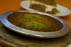 kunefe sweet cheese and shredded wheat dessert from Turkey Turkish Sweets, Palak Paneer, Turkey, Pudding, Cheese, Ethnic Recipes, Desserts, Food, Tailgate Desserts