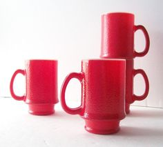 Vintage coffee cups - love the milk glass in red