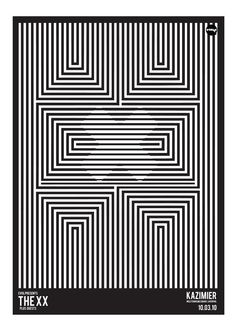 THE XX Op Art, Art Optical, Optical Illusions, Band Posters, Cool Posters, Music Posters, Poster Design, Design Art, Mim Design