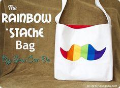 Tutorial: Rainbow 'Stache tote bag · Sewing   CraftGossip.com