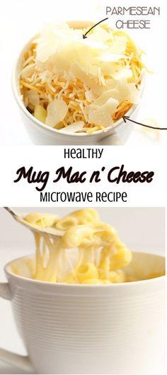 Healthy homemade mug mac n cheese in a microwave recipe