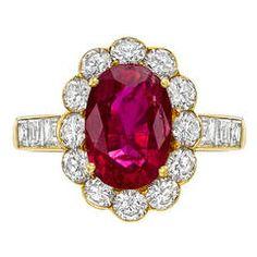 2.40 Carat Ruby Diamond Cluster Ring