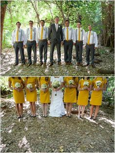 I like the groomsmen look here. Charcoal pants, mustard tie, brown shoes and belt and SUSPENDERS