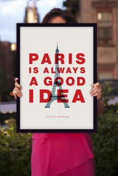 "Inspirational Quote Audrey Hepburn ""Paris Is Always a Good Idea"" Retro Art Style Typography Print Wall Decor"