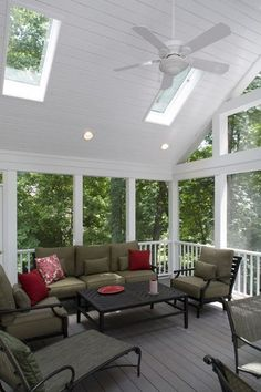 I love the ceiling and the Skylight in Screened Porch-must do to our screened in porch! Diy Porch Decor, Decor, Porch Fireplace, Screened In Porch, Home, Outdoor Living, House With Porch, Building A Porch, Porch Design
