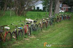Fence made of recycled bikes.
