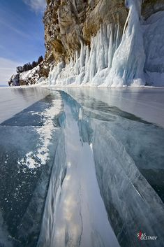 Ice cracking, Lake Baikal, Siberia, Russia.