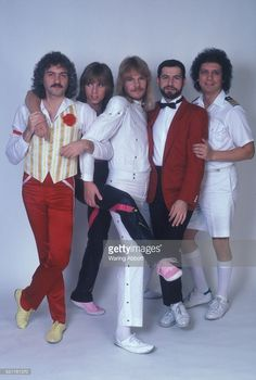 Dennis DeYoung, Tommy Shaw, James 'J.Y.' Young, Chuck Panozzo and John Panozzo of American hard rock band Styx backstage at the Jacksonville Memorial Coliseum on January 21, 1981 in Jacksonville, FL.