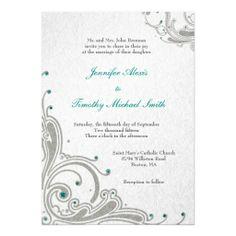 Silver glitter swirls aqua jewels wedding invite