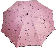 UTOO Travel Umbrella Manually Foldable Rain Windproof AntiUV Malus Spectabilis Flower Umbrella for Easy CarryingPink ** Visit the image link more details.