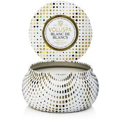 Voluspa Maison Vacation 2 Wick Candle in Tin - Blanc de Blancs ($30) ❤ liked on Polyvore featuring home, home decor, candles & candleholders, scented tin candles, tin candles, voluspa, coconut wax candles and voluspa candles