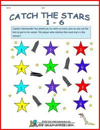 Catch the Stars 1-6, a math game for 2-3 players from Kindergarten and upwards.