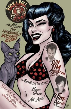 My newest poster design. For a Slim Jim Phantom and Tim Polecat Rockabilly show Rockabilly Pinup Girl Poster Design Rockabilly Moda, Rockabilly Rebel, Rockabilly Fashion, Rockabilly Style, Rockabilly Artwork, Girl Posters, Rock Posters, Concert Posters, Music Posters