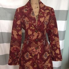 Burgundy Tapestry CAbi Coat Lovely tapestry coat with detail gather at cuffs and back waist. Brass buttons. Slash pockets. CAbi Jackets & Coats
