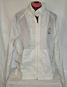 Vintage Chaps Ralph Lauren Windbreaker Large White Jacket with Crest Logo Rare Coat #vintageclothing #Chaps # RalphLauren