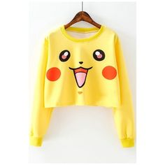 Lovely Cartoon Pikachu Printed Long Sleeve Round Neck Cropped Pullover... ($26) ❤ liked on Polyvore featuring tops, hoodies, sweatshirts, yellow pullover, long sleeve tops, round neck sweatshirt, sweater pullover and round top