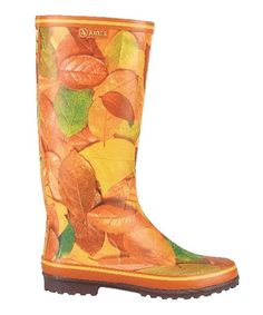 Love this Orange & Yellow Leaves Carelie Rain Boot - Women by Aigle Boots on #zulily! #zulilyfinds