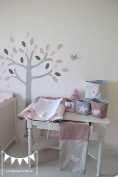 Sur commande - Décoration chambre bébé fille rose poudré gris vieux ...