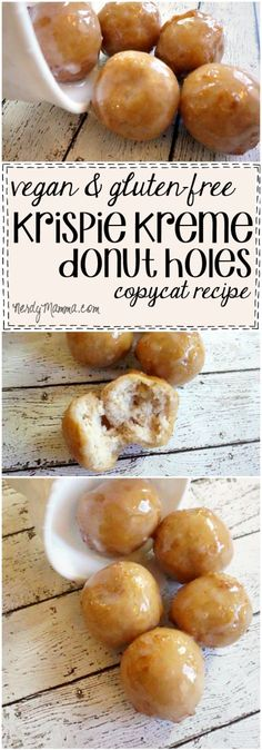 This recipe for Vegan & Gluten-Free Krispie Kreme Donut Holes! It's like the best copycat ever. This recipe for Vegan & Gluten-Free Krispie Kreme Donut Holes! It's like the best copycat ever. Dessert Sans Gluten, Gluten Free Sweets, Vegan Dessert Recipes, Donut Recipes, Gluten Free Baking, Copycat Recipes, Gluten Free Vegan Donut Recipe, Gluten Free Krispy Kreme Recipe, Gluten Free Donuts
