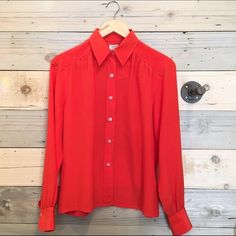 Vintage Celine Orange silk blouse Great condition. Marked size 42 will work for S-M. Made in France Celine Tops Button Down Shirts