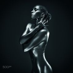Silver lady - Young fit athletic woman in silver body paint posing Athletic Women, Body Painting, Poses, Statue, Lady, Woman, Fitness, Ideas, Bodypainting
