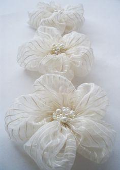 Ivory+Chiffon+with+Stripe+Flowers+Handmade+by+BizimSupplies,+$12.00