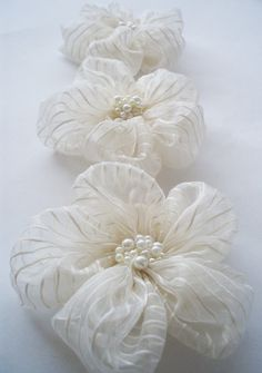 Ivory Chiffon with Stripe Flowers Handmade by BizimSupplies, $12.00