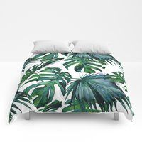Tropical Palm Leaves Classic Bedding by Simple Luxe - King: x Classic Bedding, Modern Bedding, White Bedroom Furniture, Bedroom Decor, Master Bedroom, Pink Comforter, Tropical Bedrooms, King Duvet Cover Sets