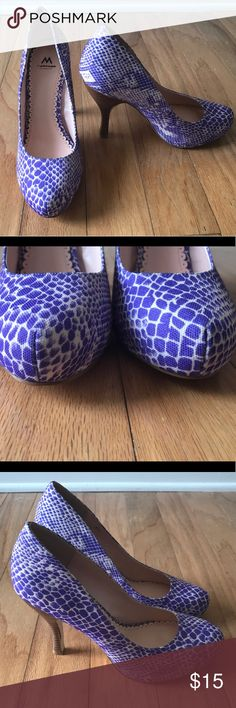 NWOT-Shoedazzle purple snakeskin heels Super cute and sexy heels!  -new without box $39.95 -size is 9M -heel is 5 inches -material is canvas (fabric) -style name is Malia -heel is a cork material (has a dot sized scratch on the left heel) -made in China -color is purple -pattern is purple snake skin  -would look cute with a white cotton dress for a casual day OR a white Bodycon dress for a fun night out -has a dot sized scratch on back of heel. Picture provided. Shoe Dazzle Shoes Heels