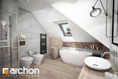 big bathroom Projekt domu Dom w liwach (G) Galeria - ARCHON+ Loft Bathroom, Bathroom Canvas, Bathroom Wall Lights, Upstairs Bathrooms, Laundry In Bathroom, Bathroom Interior, Master Bathroom, Small Bathroom, Attic Renovation