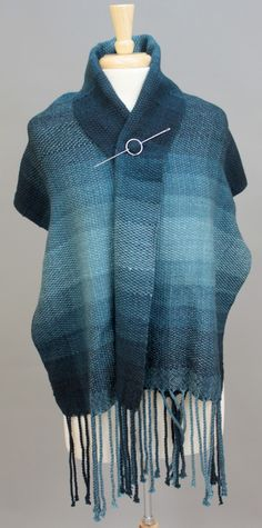 The Winter Nights Wrap woven by Benjamin Krudwig with Miss Babs yarn in the Perseus Gradient set. Woven on the Schacht Baby Wolf.