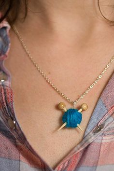 Ball of yarn necklace - Bet I could make a tiny crochet hook instead since I don't knit