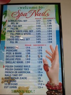 Price List For Nails  Salon Ideas    Price List