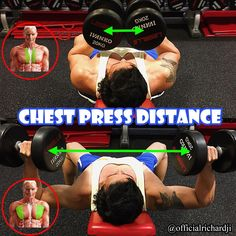 Chest Press Distance To Target Inner Pecs: if you change up the exercises and angles you can always change the range of motion and therefore focus on a particular area of the muscle. reduce the outward stretch of the pec and only focus on that inner chest Gym Tips, Gym Workout Tips, Workout Routines, Workout Videos, At Home Workouts, Cycling Workout, Fitness Gym, Muscle Fitness, Fitness Plan