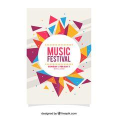 affiche du festival de festival géométrique coloré Vecteur gratuit