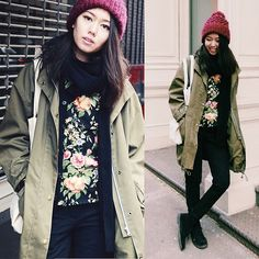 Anorak + floral jumper + cable knit beanie!