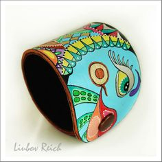 Hand Painted Leather Cuff - Abstract Leather Art Bracelet - Colorful Jewelry - OOAK. $55.00, via Etsy.