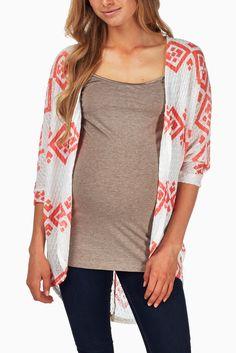 Coral-White-Tribal-Print-Maternity-Cardigan #maternity #fashion