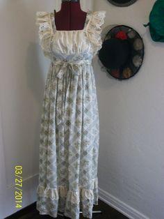 vtg 70s Green Gunne Sax Dress Floral Prairie Boho Hippie Wedding Maxi Sz 9 in Clothing, Shoes & Accessories   eBay