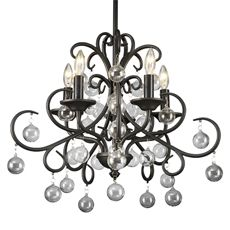Gallery Wrought Iron and Crystal 5-Light Chandelier