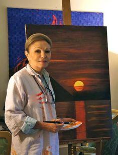 "Oil painting ""Sunset"" Farah Pahlavi"