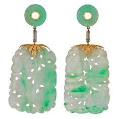 Art Deco Carved Large Apple Jade & Diamond Earrings