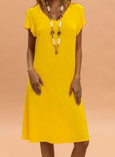 Yellow General Tunic Yellow Blue Neutral Black Day Dresses Black Blue None Khaki Polyester Casual Shift Dress Spring Summer V-Neckline Fall S M Short Sleeve Knee-Length L XL XXL Solid Dress Yellow Dresses For Sale, Long Sleeve Maxi, Short Sleeve Dresses, Women's Fashion Dresses, Casual Dresses, Vestido Casual, Knee Length Dresses, Buy Dress, Clothes