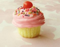 pink frosted home made cupcake polymer clay by ScrumptiousDoodle